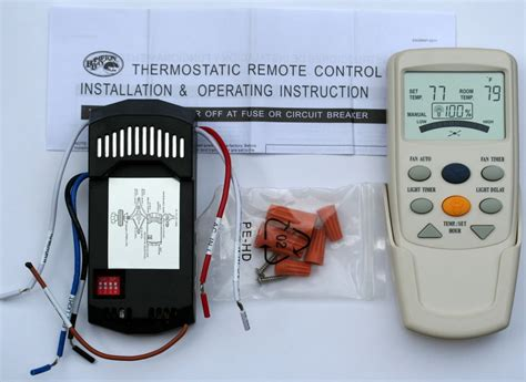 thermostat controlled ceiling fan hampton bay ceiling fan lcd thermostatic remote control