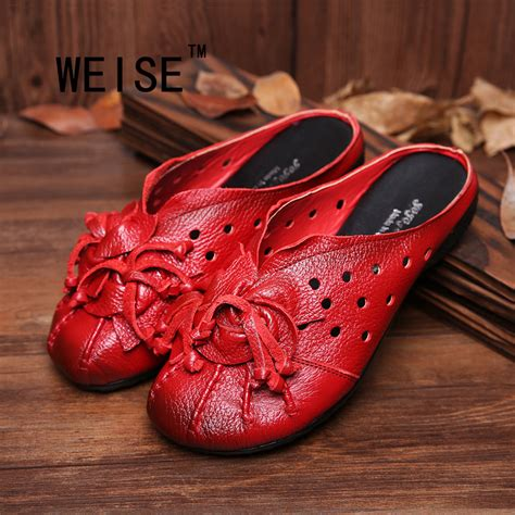 2017 Retro Style Flower Handmade - 2017 ethnic style genuine leather shoes handmade