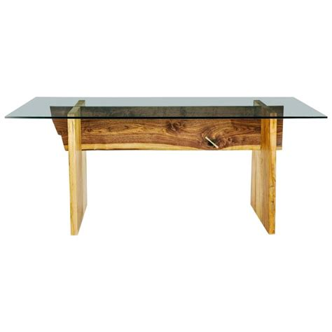 Lombardy Glass Walnut Dining Room Table Luxe Walnut And Maple Slab Base Glass Top Dining Table