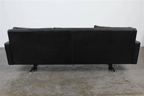 black sofa legs mid century modern black leather sofa with chrome legs at
