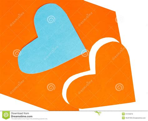 Shapes Out Of Paper - two colored shapes cut out of paper stock photo