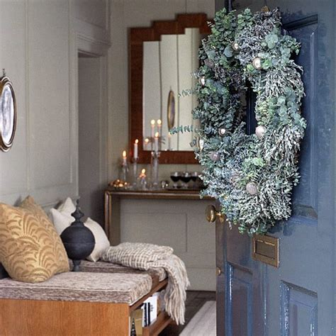 hallway and front door with christmas decorations