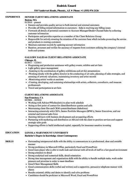 Relations Associate Sle Resume by Client Relations Associate Resume Sles Velvet