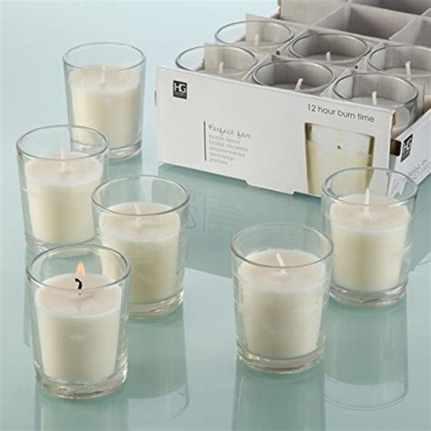 hosley set of 48 unscented clear glass wax filled votive import it all