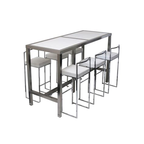 High Table With Stools by High Bar Table 6 Stools White Set