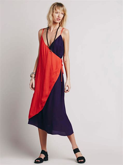 Shopping Colour Block Scarf Dress by Color Block Wrap Dress At Free Clothing Boutique