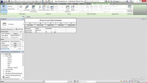 revit tutorial schedule creating a key schedule