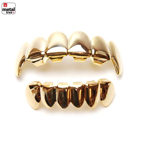 Golden Grill Made In Korea grillz set fangs 14k ip gold plated top bottom