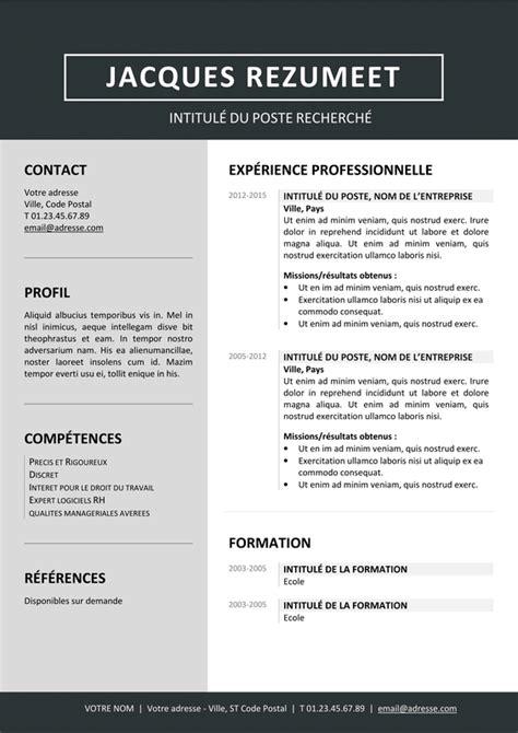 Modele De Curriculum Gratuit by Modele Cv Word Gratuit Moderne 2017