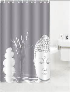 chinois bouddha et pebble rideau de salle de bain