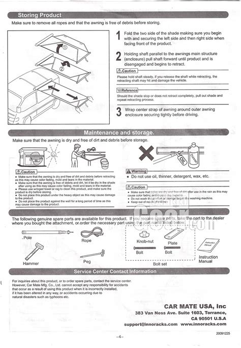 awning instructions awning instructions page 4
