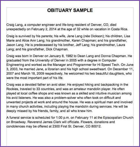 eulogy template for eulogy exles template business