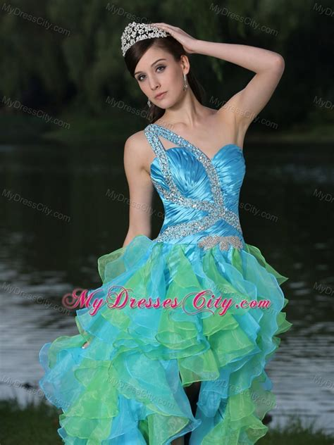 Ready Fiona Maxy Best Seller high low multi color prom dress for with ruffles