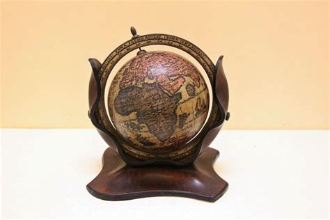 Small Home Interior vintage small wooden globe with leather cover stand for desk