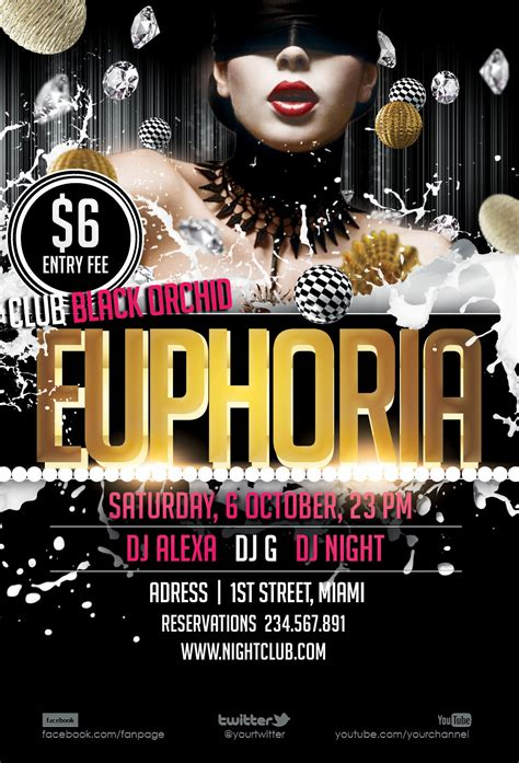free psd flyer euphoria by printdesign on deviantart