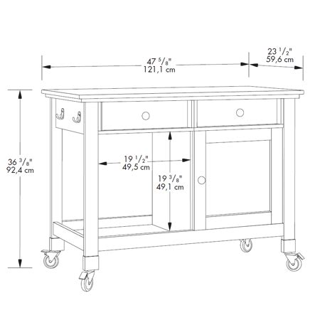 dimensions of kitchen island original cottage mobile kitchen island by sauder