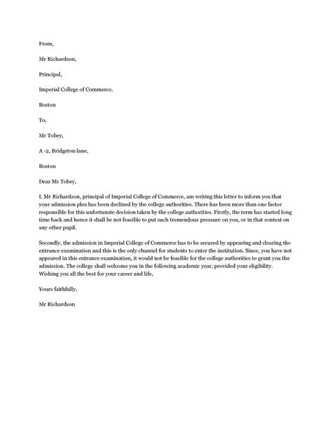 Financial Decline Letter decline admission letter the letter should be brief