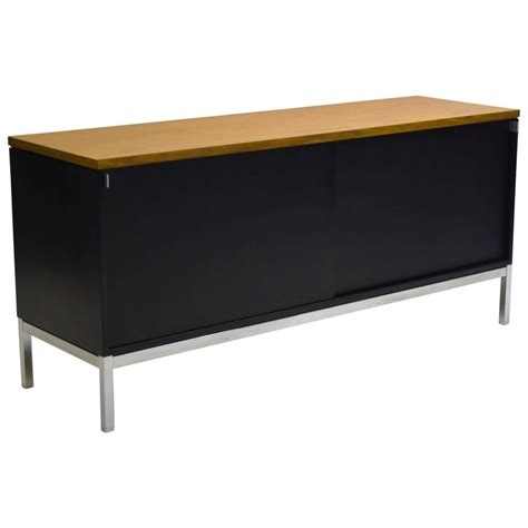 Metal Credenza florence knoll metal credenza with sliding doors at 1stdibs