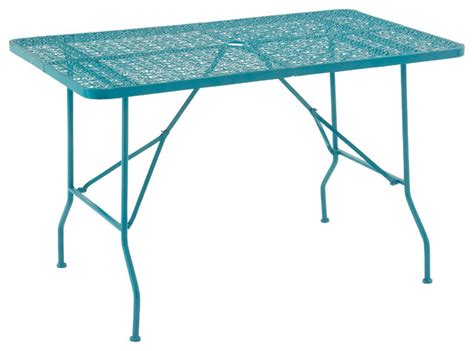outdoor folding dining table benzara uniquely styled metal folding outdoor table