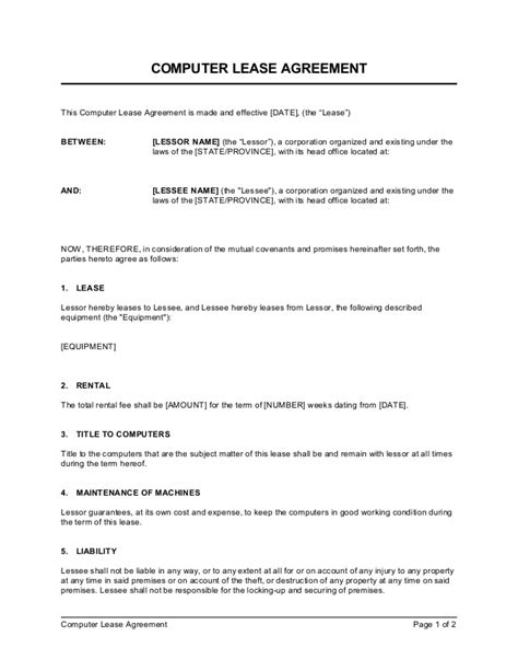 furniture rental agreement template equipment lease agreement agreement real estate forms