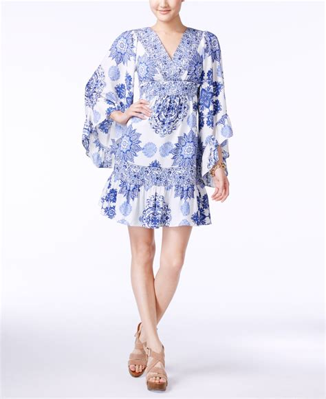 Printed Sleeve A Line Dress betsey johnson printed bell sleeve a line dress in white