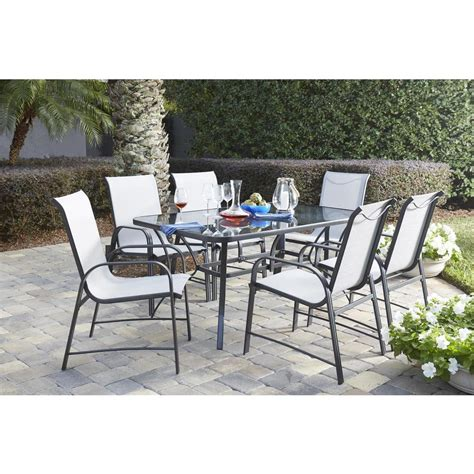 Glass Patio Furniture Sunjoy 3 Led Patio Dining Set 110203026 The Home Depot