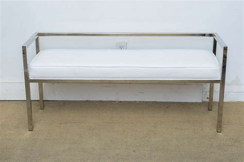 modern banquette bench mid century modern milo baughman chrome upholstered