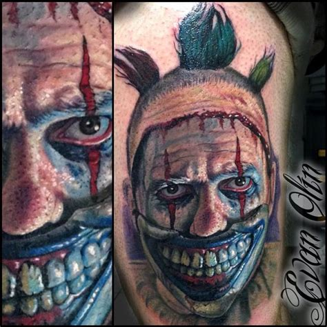 tattoo girl on american horror story portrait of twisty the clown from american horror story
