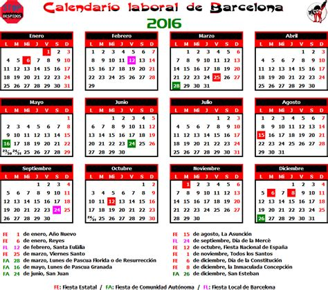 Calendario H 2016 Gatos Sindicales Bcn Calendario Laboral 2016 Barcelona