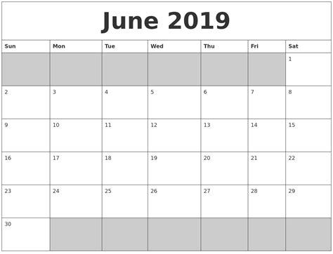 june blank printable calendar