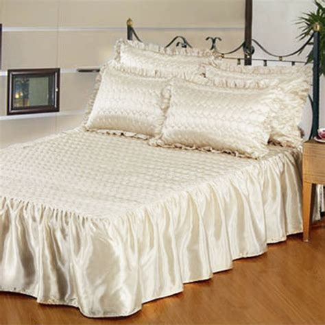 cream coverlet cream quilted satin bedspread set tonys textiles