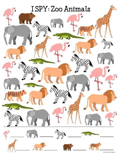 free printable zoo animal pictures zoo animals i spy printable for kids school time snippets