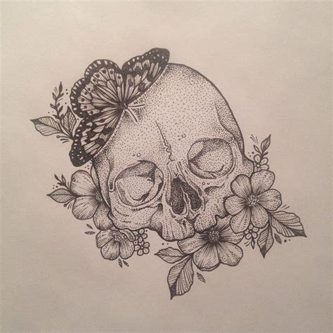 skull and flower tattoos scull butterfly flowers by medusa lou