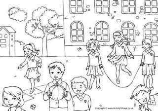 coloring pages school playground school colouring pages