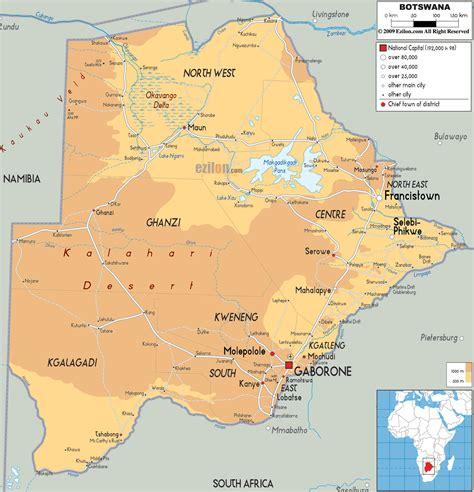 Physical Map of Botswana   Ezilon Maps