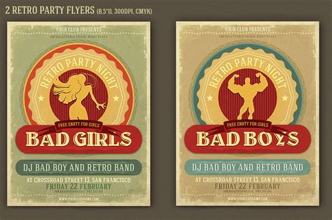 badgirls retro flyer template flyer templates on