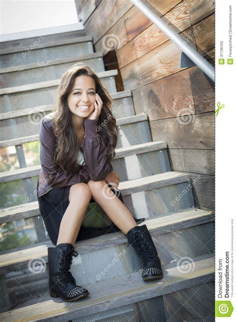 mixed race portrait on staircase royalty