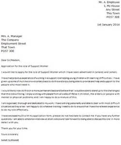 Mental Health Worker Cover Letter by Support Worker Cover Letter Exle Icover Org Uk