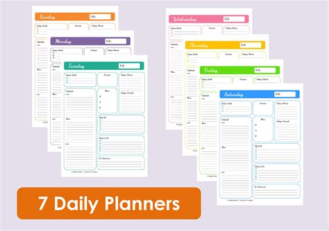 daily planner template for numbers multicoloured printable daily planners time by