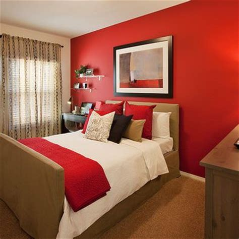 bedroom with red walls pinterest