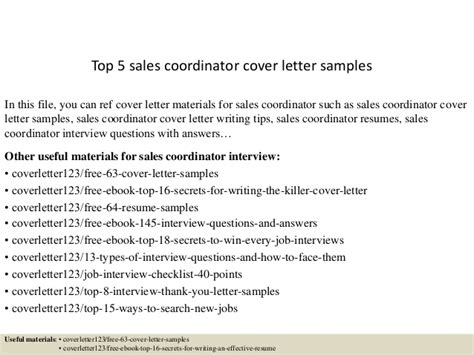 cover letters sles top 5 sales coordinator cover letter sles 1165