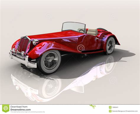 rare sports cars vintage red sports car 3d model stock illustration