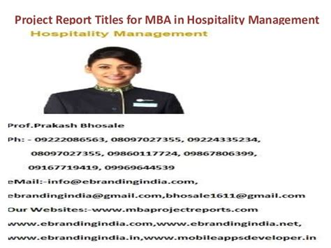 Project Report On Hotel Industry Mba by Project Report Titles For Mba In Hospitality Management