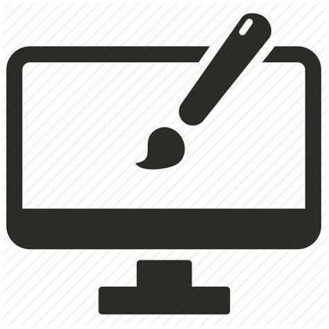 design icon with sketch art brush computer custom design drawing interface