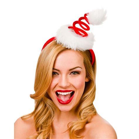 spiral santa hat on headband peeks