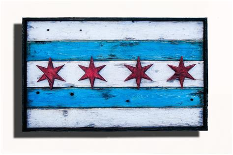 Handmade Chicago - handmade distressed wooden chicago flag vintage