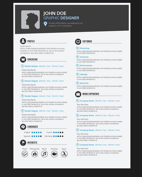 Graphic Resume Templates by Graphic Designer Resume Cv Vector