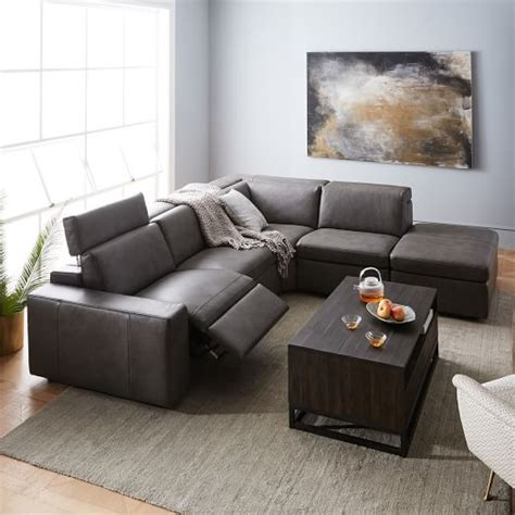 recliner with storage ottoman enzo leather reclining 4 seater sectional with storage