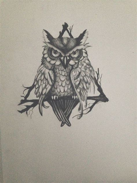 triangle owl drawing tattoo design print by nicalli on