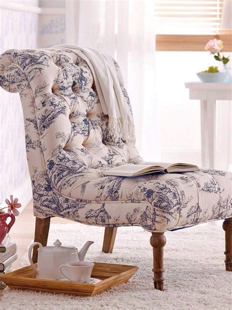 blue toile scooped slipper chair blue white home iii